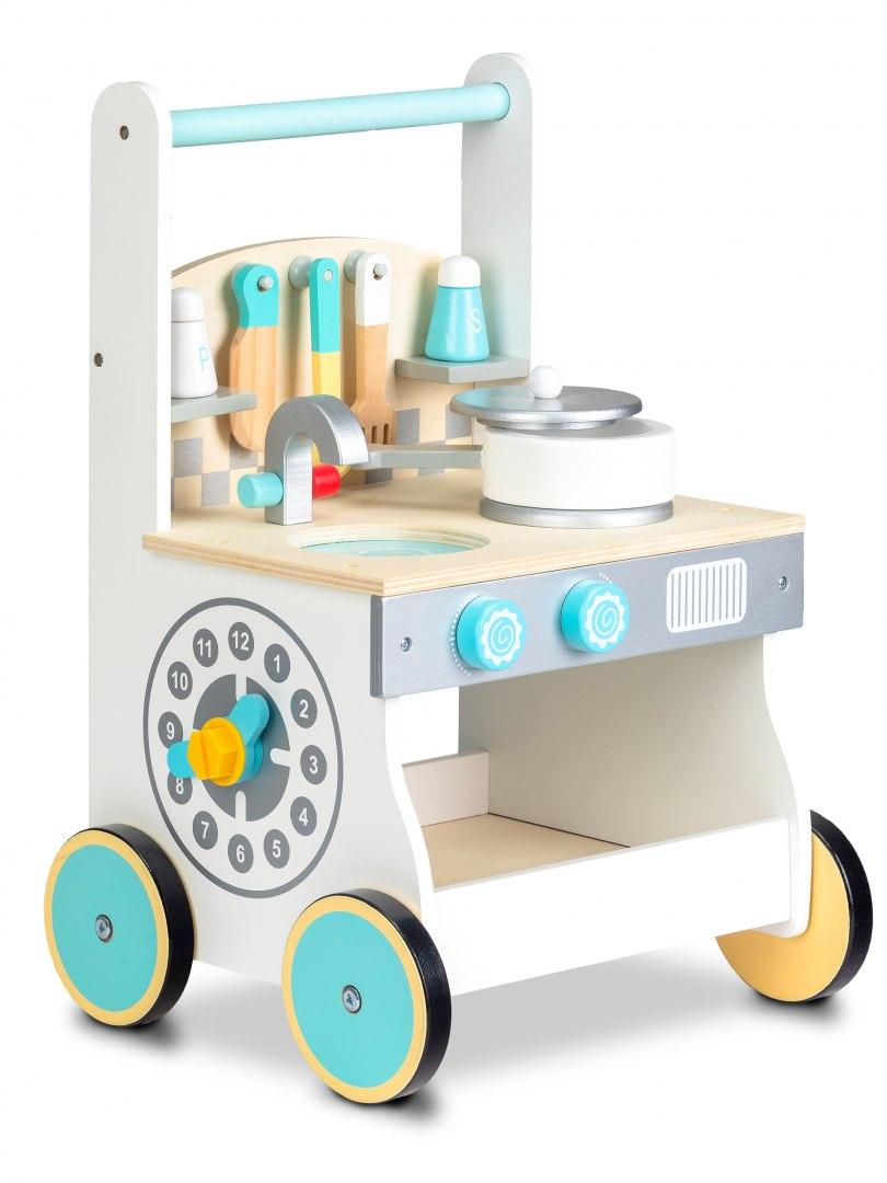 Image of Drewniana kuchnia dla dzieci pchacz wózek Ecotoys