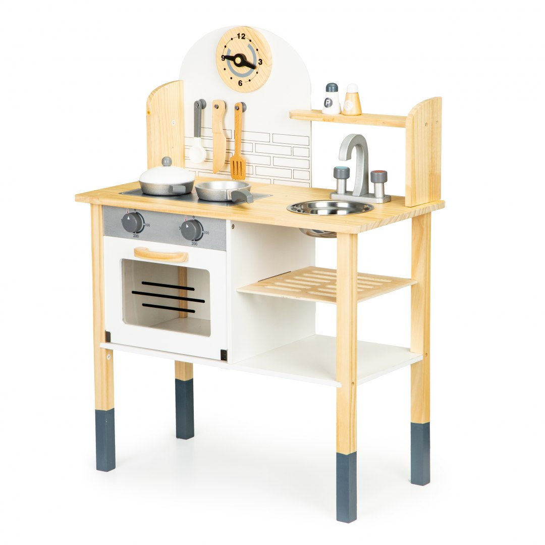 Image of Drewniana kuchnia dla dzieci + akcesoria ECOTOYS