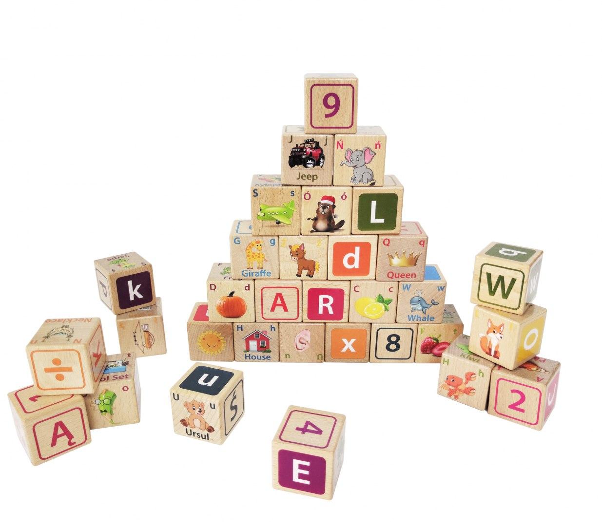 Image of Drewniane klocki edukacyjne litery cyfry obrazki
