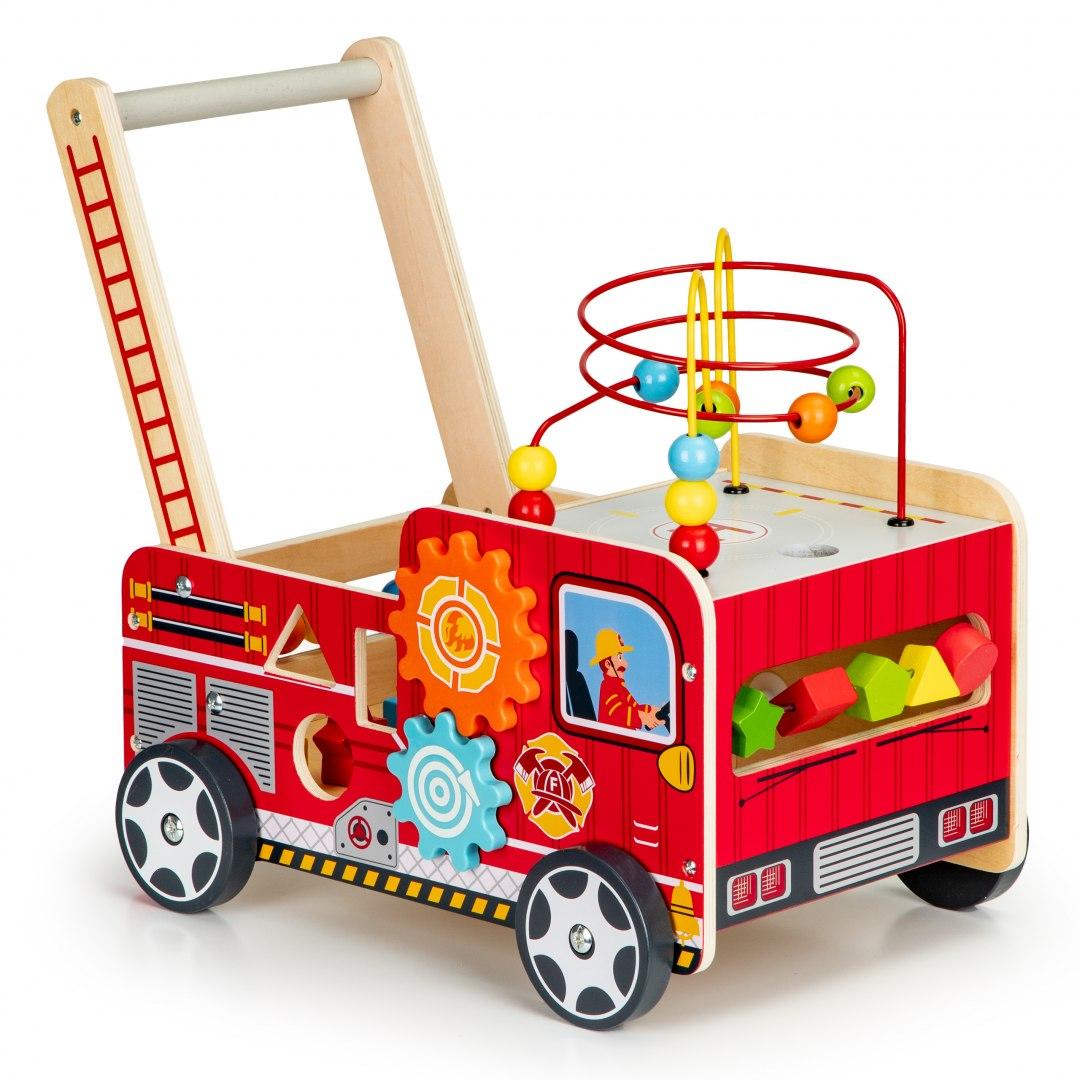 Image of Drewniany pchacz edukacyjny z klockami dla dzieci - Straż Pożarna