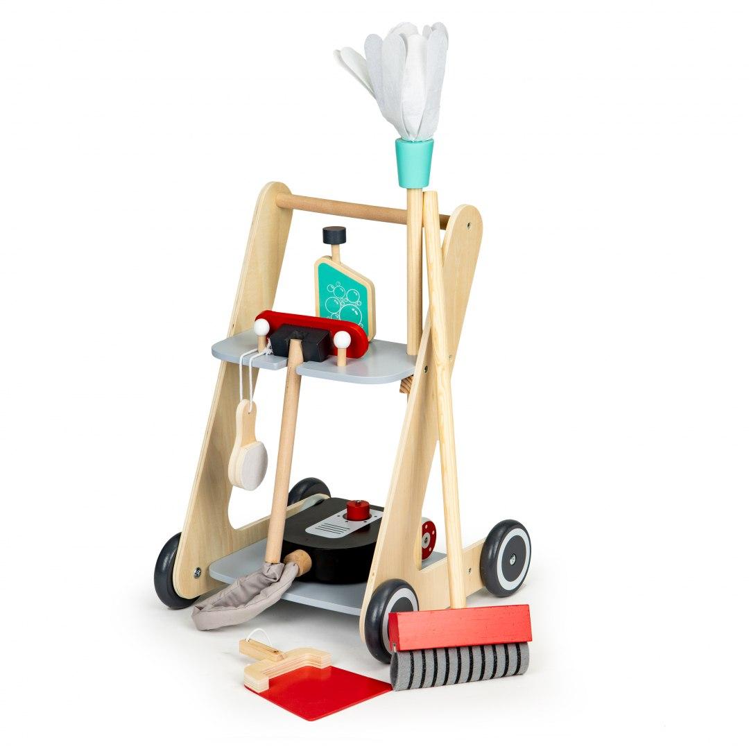 Image of Drewniany zestaw do sprzątania wózek xxl odkurzacz