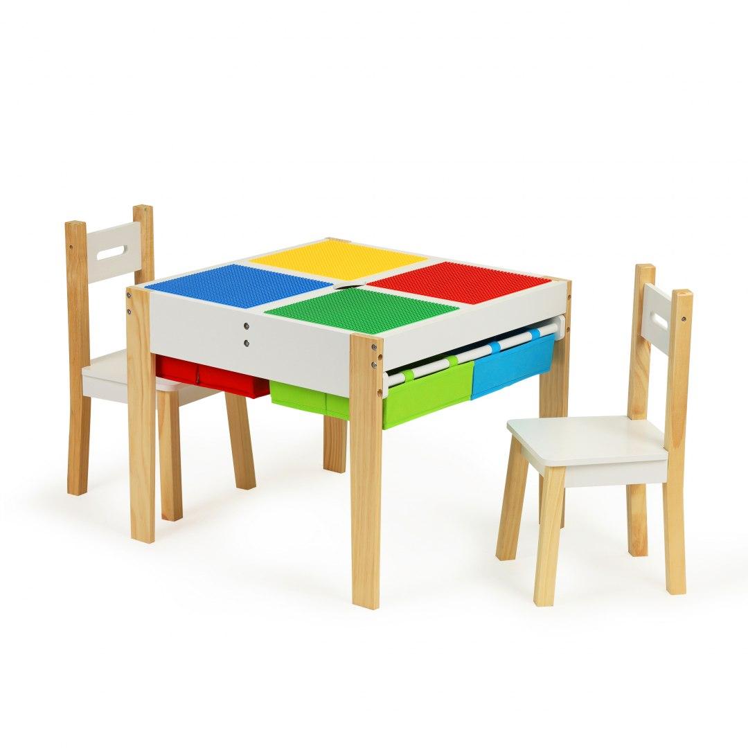 Image of Drewniane meble dla dzieci zestaw stół +2 krzesła