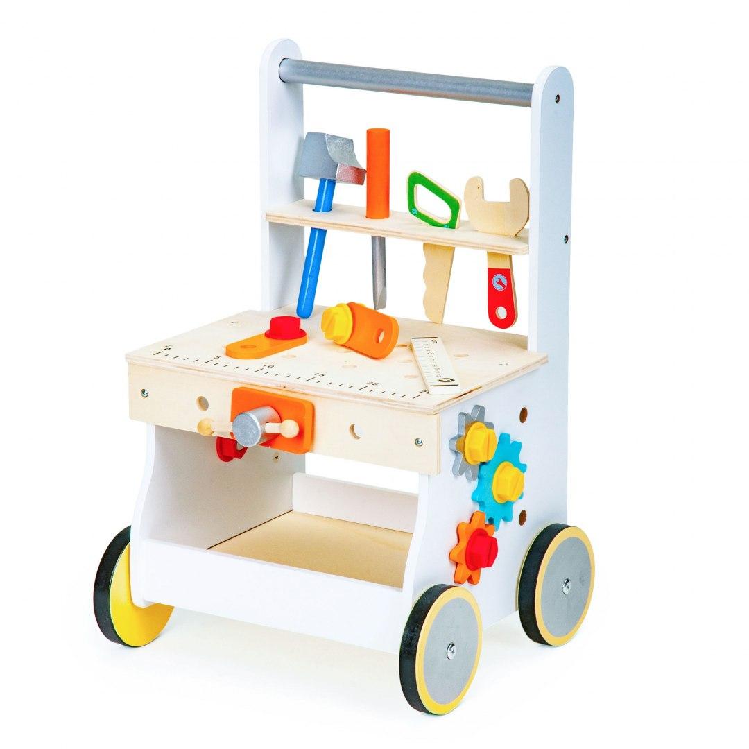 Image of Drewniany pchacz wózek warsztat narzędzia Ecotoys