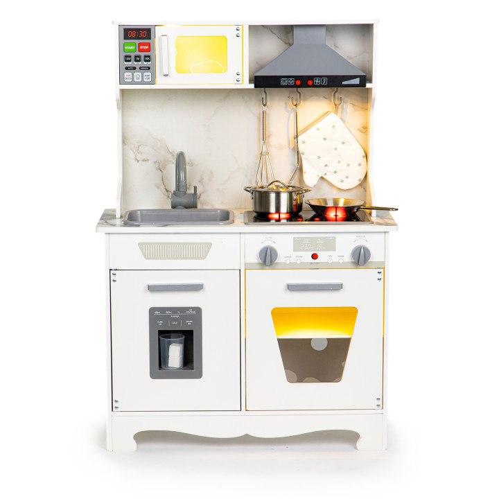 Image of Drewniana kuchnia dla dzieci dźwięki led + akcesoria